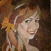 Картины и панно ручной работы. Ярмарка Мастеров - ручная работа Портрет из листьев с фотографической точностью. Handmade.