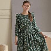 handmade. Livemaster - original item Emerald-colored linen dress with wings. Handmade.