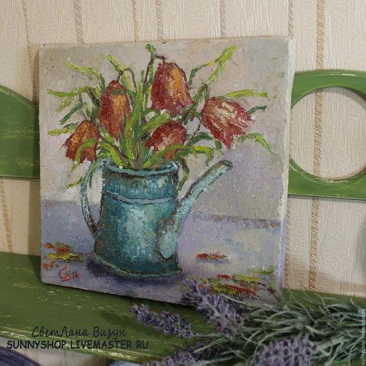 """Картины цветов ручной работы. Ярмарка Мастеров - ручная работа. Купить Картина маслом """"Тюльпаны в чайнике"""" для кухни. Handmade. Сиреневый"""