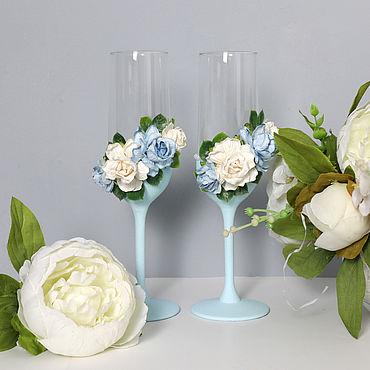 Свадебный салон ручной работы. Ярмарка Мастеров - ручная работа Набор свадебных бокалов с цветами. Handmade.