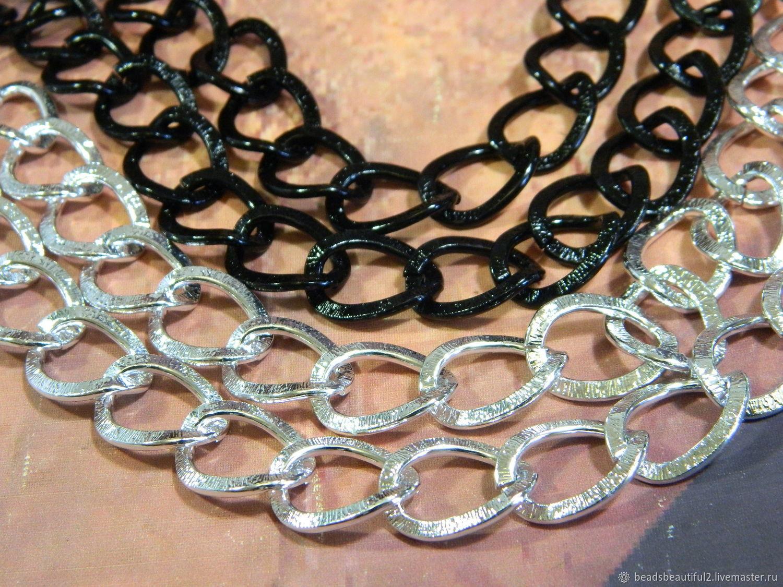 Цепь цвет серебро, черная, родирование. 50 см, Цепочки, Саратов,  Фото №1