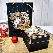 """Упаковка ручной работы. Ярмарка Мастеров - ручная работа Комплект упаковки для подарка/подарков """"Новогодняя ночь"""". Handmade."""
