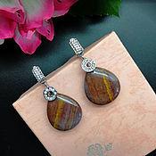 handmade. Livemaster - original item Earrings with Jasper in silver