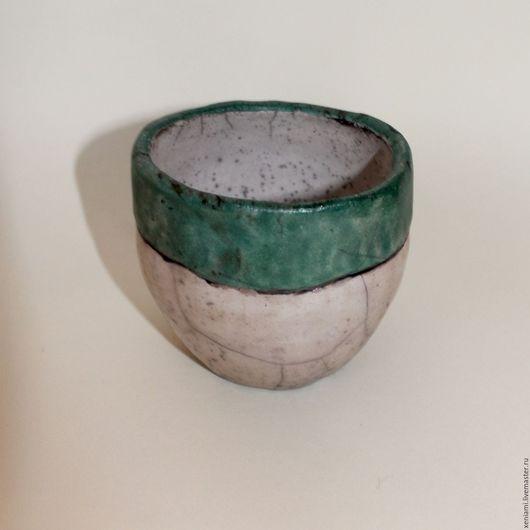 Пиалы ручной работы. Ярмарка Мастеров - ручная работа. Купить Чаша в стиле РАКУ. Handmade. Бирюзовый, оригинальный подарок, глина