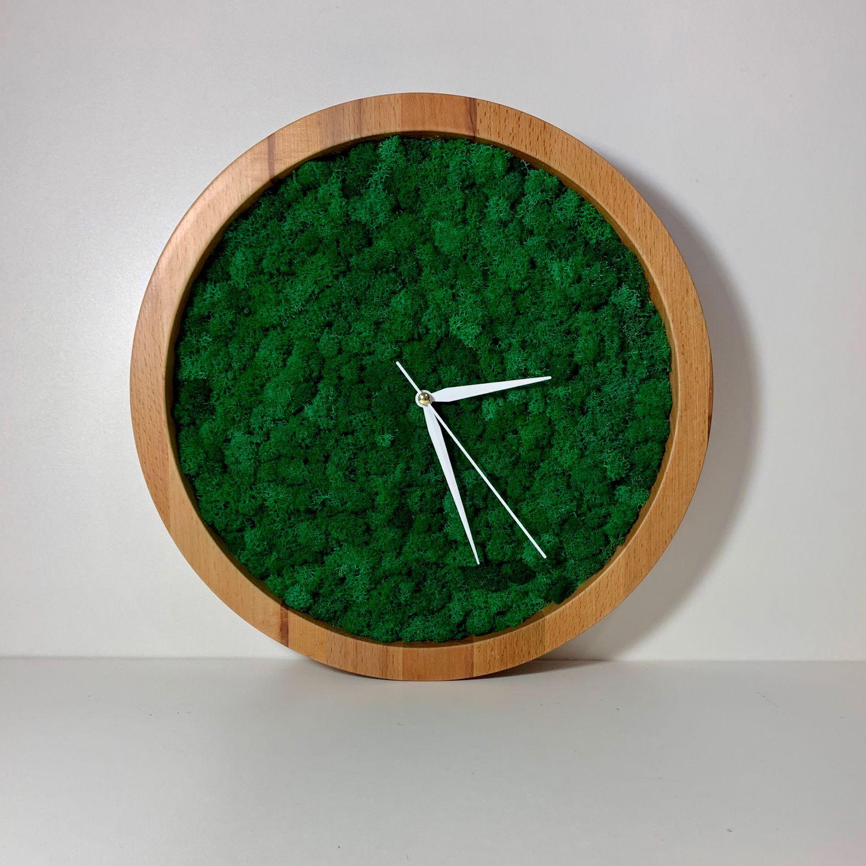 Часы из стабилизированного мха в деревянной фирменной упаковке, Часы классические, Санкт-Петербург,  Фото №1