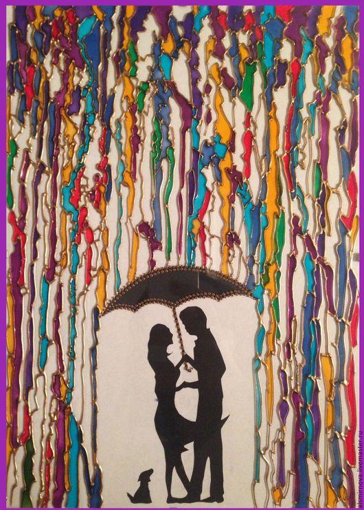 """Люди, ручной работы. Ярмарка Мастеров - ручная работа. Купить картина на стекле, витражная роспись - """"Влюбленные"""". Handmade. Фиолетовый"""