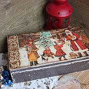 """Для дома и интерьера ручной работы. Ярмарка Мастеров - ручная работа Чайный короб """"Новогодние забавы"""". Handmade."""