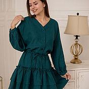 Одежда handmade. Livemaster - original item Vasilisa linen dress with bat-style sleeves. Handmade.