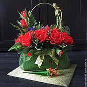 Цветы и флористика ручной работы. Ярмарка Мастеров - ручная работа Сладкая сумочка с зонтиком. Handmade.