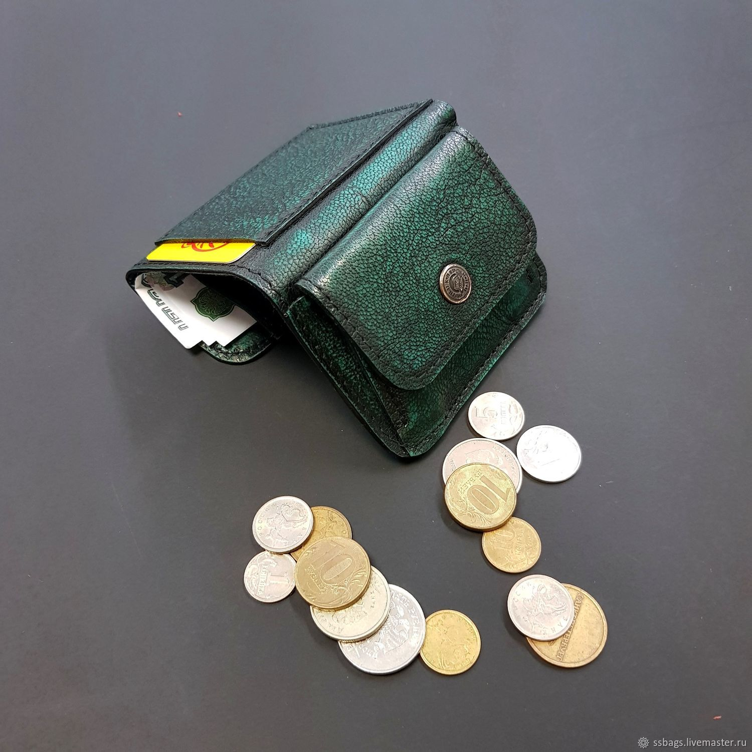 Wallet small leather. Green aged, Wallets, St. Petersburg,  Фото №1