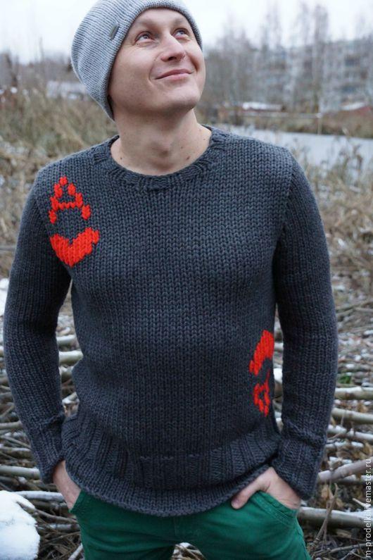 Кофты и свитера ручной работы. Ярмарка Мастеров - ручная работа. Купить Свитер мужской крупной вязки Sweet Heart. Handmade.