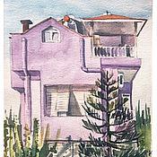 Картины и панно ручной работы. Ярмарка Мастеров - ручная работа Сиреневый домик у моря. Handmade.