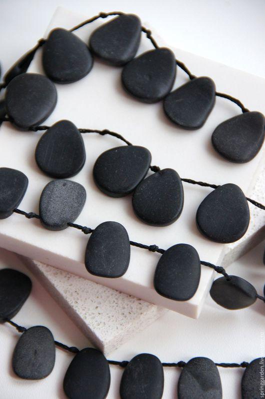 Для украшений ручной работы. Ярмарка Мастеров - ручная работа. Купить Агат черный бусины МАТОВЫЙ АНТРАЦИТ листок. Handmade.