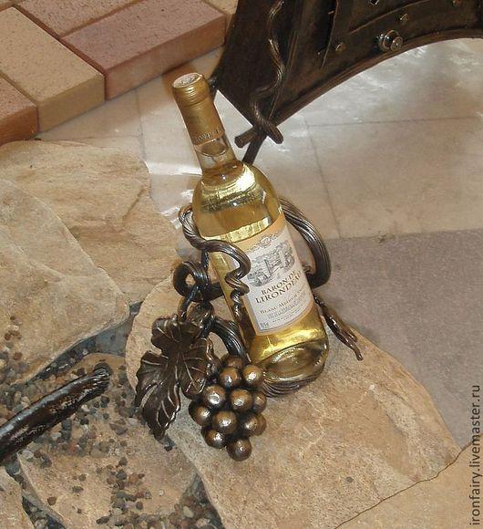 Статуэтки ручной работы. Ярмарка Мастеров - ручная работа. Купить Подставка для вина. Handmade. Серый, подарок, виноградная гроздь, сталь