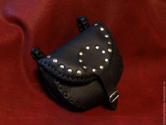 """Мужские сумки ручной работы. Ярмарка Мастеров - ручная работа. Купить Кожаная сумка """"Байкерская"""". Handmade. Черный, мужской подарок"""