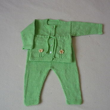 Works for children handmade. Livemaster - original item Knitted soft green set with flowers. Handmade.