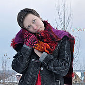 Аксессуары handmade. Livemaster - original item Wool Knitted Scarf Geometric Colourful Long Winter Snood. Handmade.