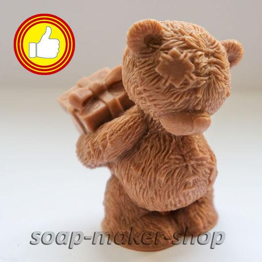Материалы для косметики ручной работы. Ярмарка Мастеров - ручная работа. Купить Силиконовая форма для мыла «Тедди с подарком 3D». Handmade.