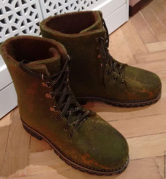 """Обувь ручной работы. Ярмарка Мастеров - ручная работа. Купить Ботинки валяные """"Осенняя трава"""". Handmade. Хаки, ботинки из шерсти"""