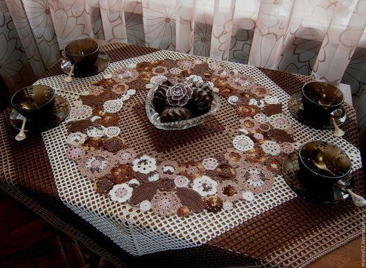 """Текстиль, ковры ручной работы. Ярмарка Мастеров - ручная работа. Купить Комплект столового белья """"Шоколад"""". Handmade. Коричневый"""