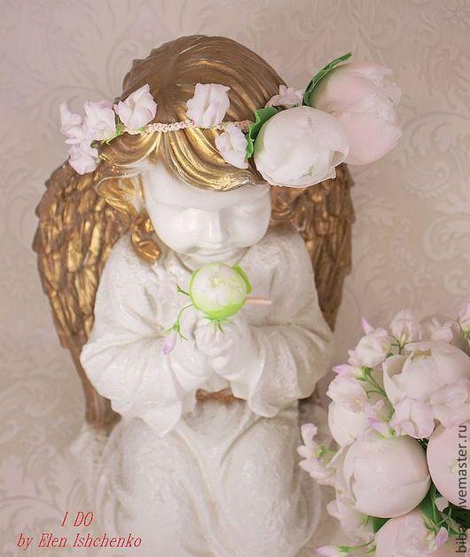 Свадебные украшения ручной работы. Ярмарка Мастеров - ручная работа. Купить Свадебный веночек цветы из полимерной глины керамическая флористика. Handmade.