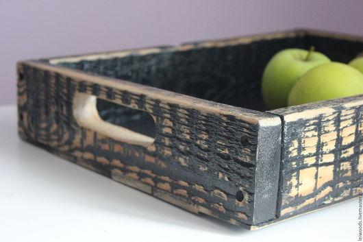 Кухня ручной работы. Ярмарка Мастеров - ручная работа. Купить деревянный поднос. Handmade. Черный, поднос, поднос для завтрака, подносы