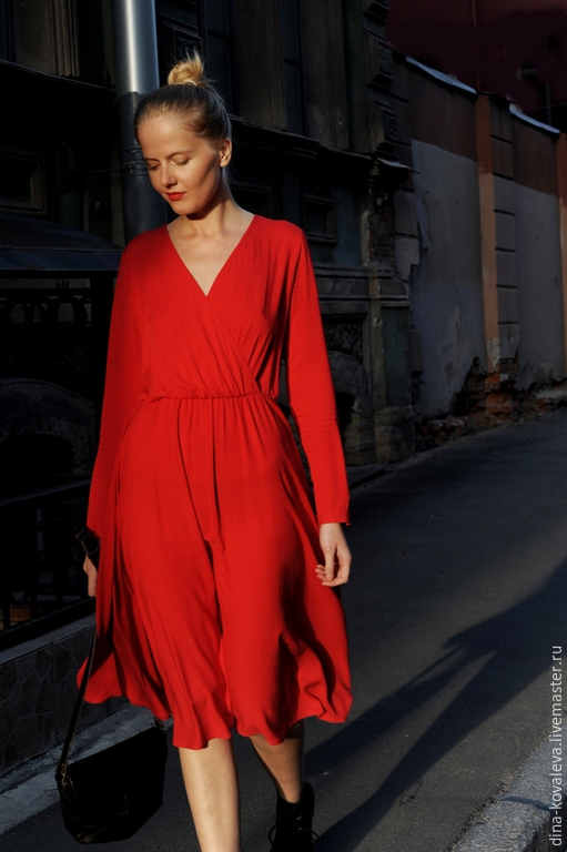 Платья ручной работы. Ярмарка Мастеров - ручная работа. Купить Платье Роскошный красный. Handmade. Ярко-красный, Праздник, страсть