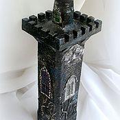 Бутылка-светильник Готическая башня Декупаж