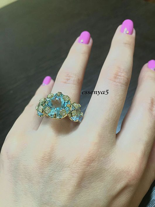 Кольца ручной работы. Ярмарка Мастеров - ручная работа. Купить Золотое кольцо с природными топазами. Handmade. Золотое кольцо, топаз