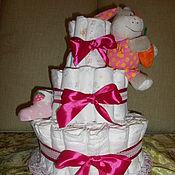 Подарки к праздникам ручной работы. Ярмарка Мастеров - ручная работа Торт из памперсов Фуксия. Handmade.