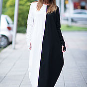 Одежда handmade. Livemaster - original item Black and white, long cotton dress - DR0139PM. Handmade.