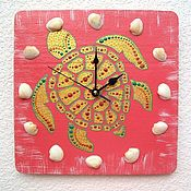 Для дома и интерьера handmade. Livemaster - original item Wall clock Turtle, handmade clock with shells. Handmade.