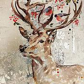 Картины и панно handmade. Livemaster - original item Silver deer and birds, painting on canvas, interior painting. Handmade.
