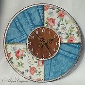 "Часы настенные ""Jeans&Roses"", пэчворк, джинс"