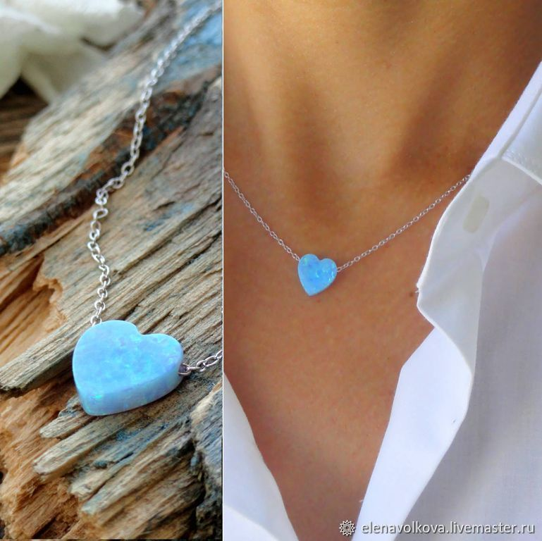 Heart pendant blue opal pendant on a chain spring tenderness, Necklace, Yaroslavl,  Фото №1