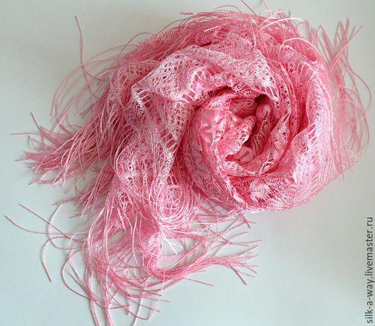 Шали, палантины ручной работы. Ярмарка Мастеров - ручная работа. Купить Шаль ажурная. Платок в храм. Розовый с бахромой.. Handmade.