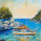 Картины и панно handmade. Livemaster - original item The picture with the boat and the sea
