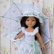 Куклы и игрушки ручной работы. Ярмарка Мастеров - ручная работа Платье + зонтик + шляпка, одежда для кукол Паола Рейна. Handmade.