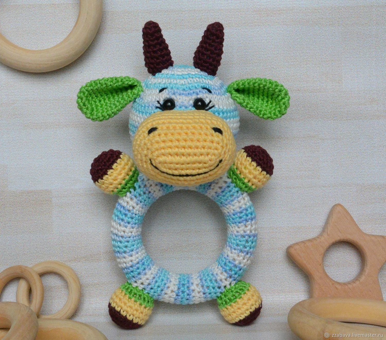 Cow Round rattle on a wooden ring crocheted, Teethers and rattles, Tomsk,  Фото №1