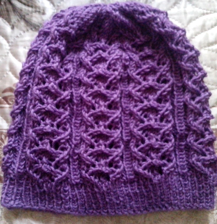 Фиолетовая шапочка из шерсти для осени, Шапки, Москва,  Фото №1