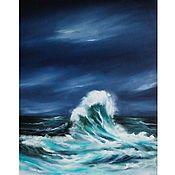 Картины и панно handmade. Livemaster - original item Oil painting sea sea storm Wave seascape. Handmade.