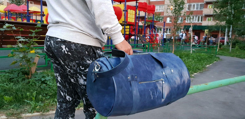 Спортивные сумки ручной работы. Ярмарка Мастеров - ручная работа. Купить Большая кожаная дорожная сумка синего цвета синяя Спортивная. Handmade.