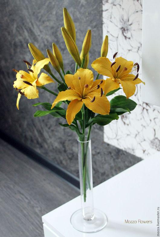 Букеты ручной работы. Ярмарка Мастеров - ручная работа. Купить Желтые лилии из полимерной глины.. Handmade. Желтый