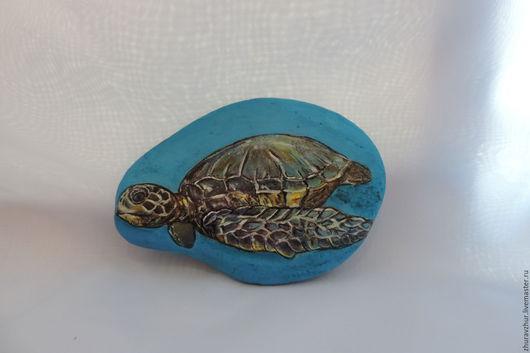 Роспись по камню ручной работы. Ярмарка Мастеров - ручная работа. Купить Черепаха. Handmade. Комбинированный, синий, камень натуральный