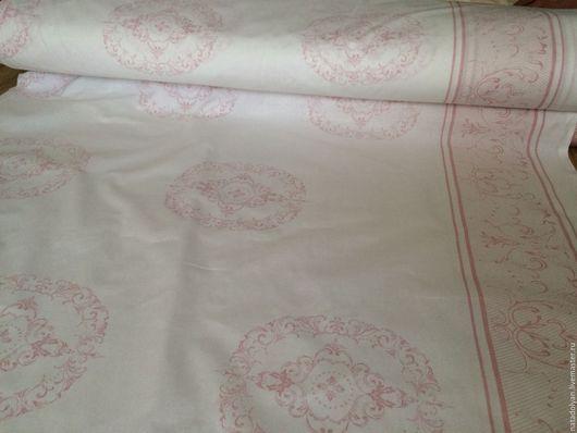 """Шитье ручной работы. Ярмарка Мастеров - ручная работа. Купить Ткань Поплин """"Белый с розовым рисунком"""" хлопок 100%. Handmade."""