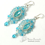 Украшения handmade. Livemaster - original item Earrings beaded Openwork blue silver. Handmade.