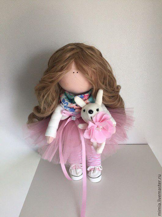Коллекционные куклы ручной работы. Ярмарка Мастеров - ручная работа. Купить Кукла интерьерная с зайкой. Handmade. Бледно-розовый