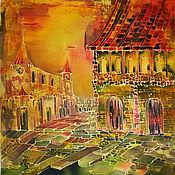 Картины и панно ручной работы. Ярмарка Мастеров - ручная работа Батик-панно Желтый город 50х50. Handmade.