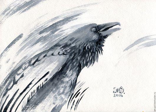 """Животные ручной работы. Ярмарка Мастеров - ручная работа. Купить рисунок """"крик ворона"""". Handmade. Ворон, крик ворона"""