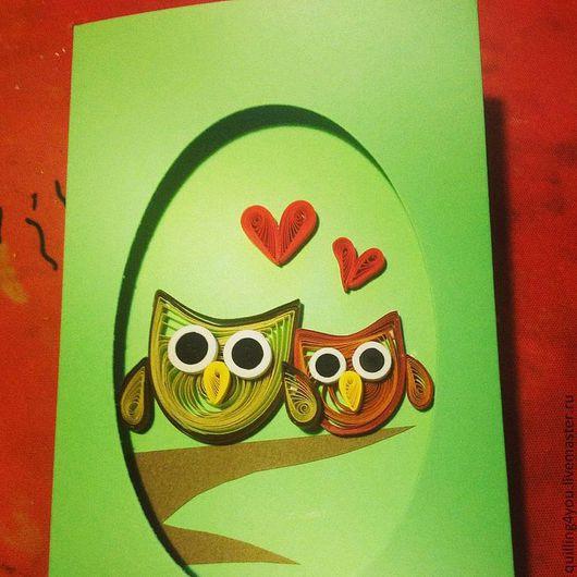 """Открытки на все случаи жизни ручной работы. Ярмарка Мастеров - ручная работа. Купить Открытка """"Влюбленные совушки"""". Handmade. совы, любовь"""